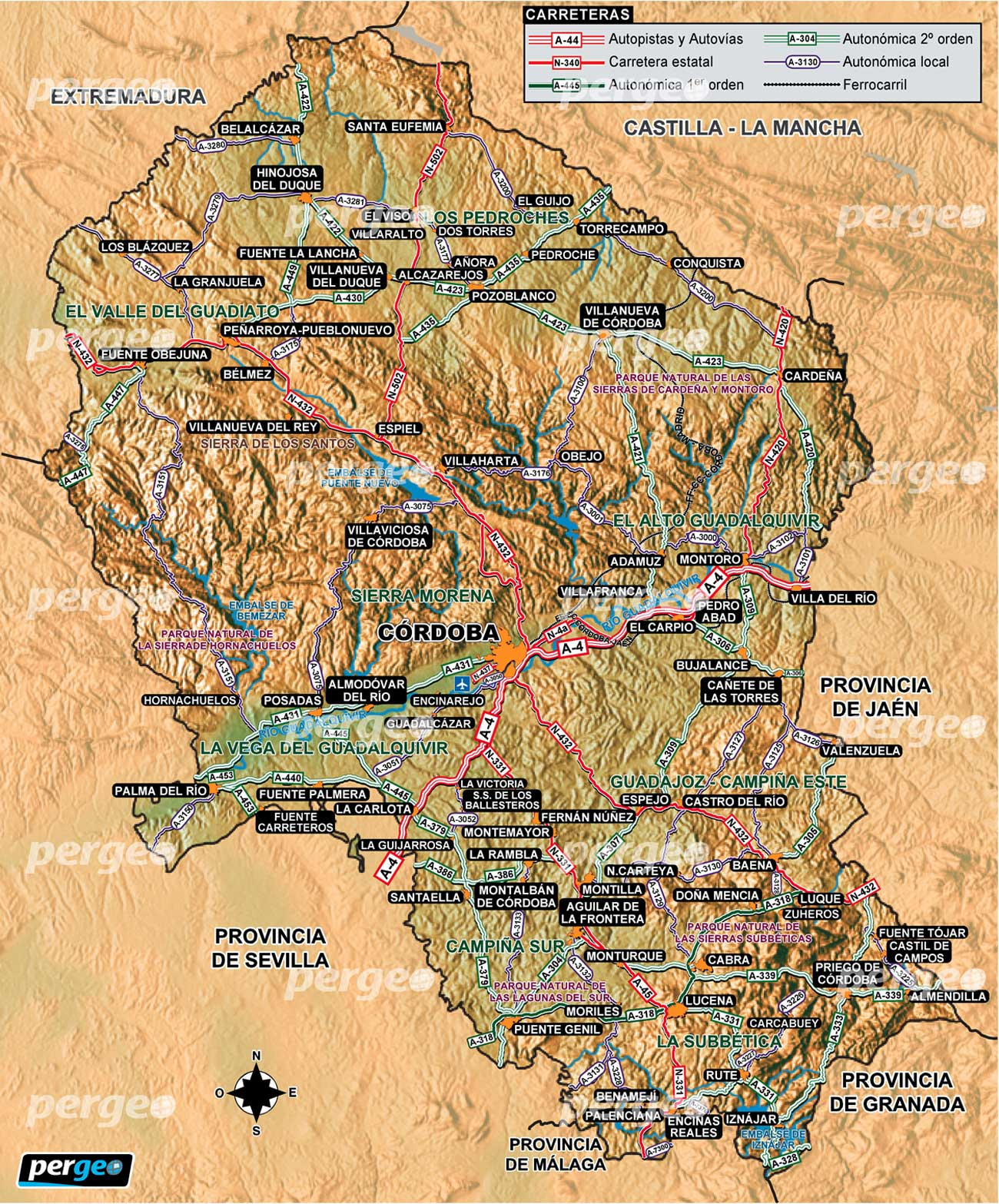 Mapa Provincia De Cordoba España.Provincia De Cordoba Mapa Artistico E Ilustradopergeo Es