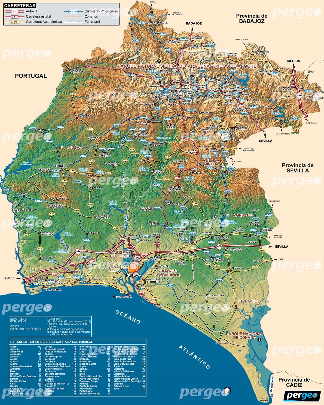 huelva mapa Provincia de Huelva. mapa artístico e ilustradopergeo.es huelva mapa