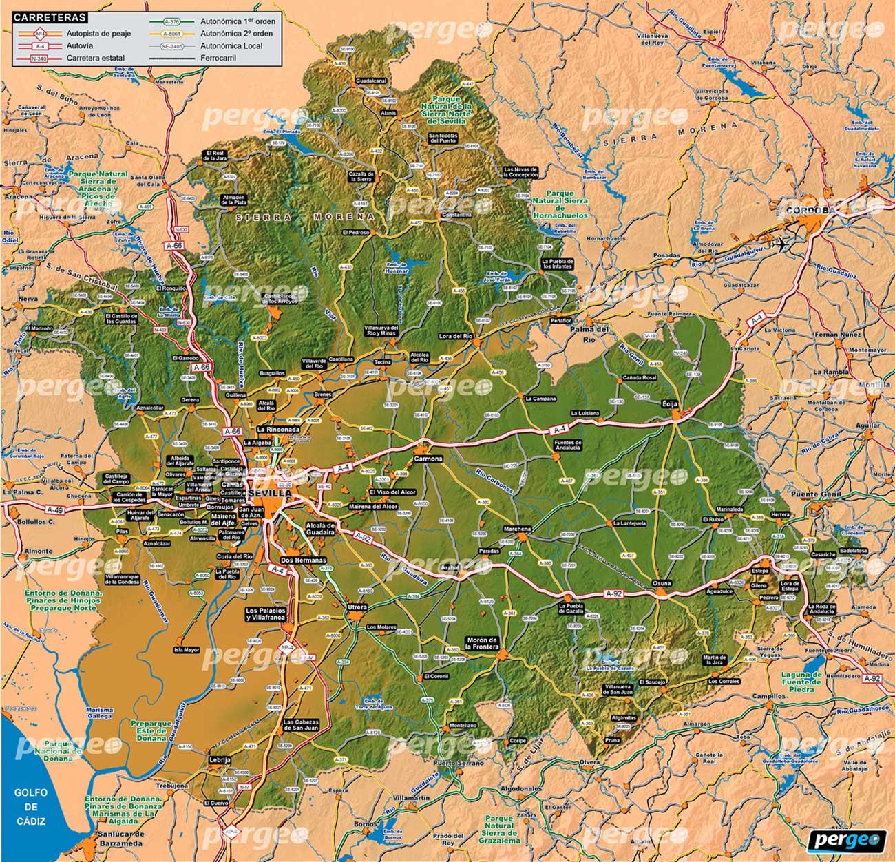 Provincia De Sevilla Mapa.Provincia De Sevilla Mapa Artistico E Ilustradopergeo Es