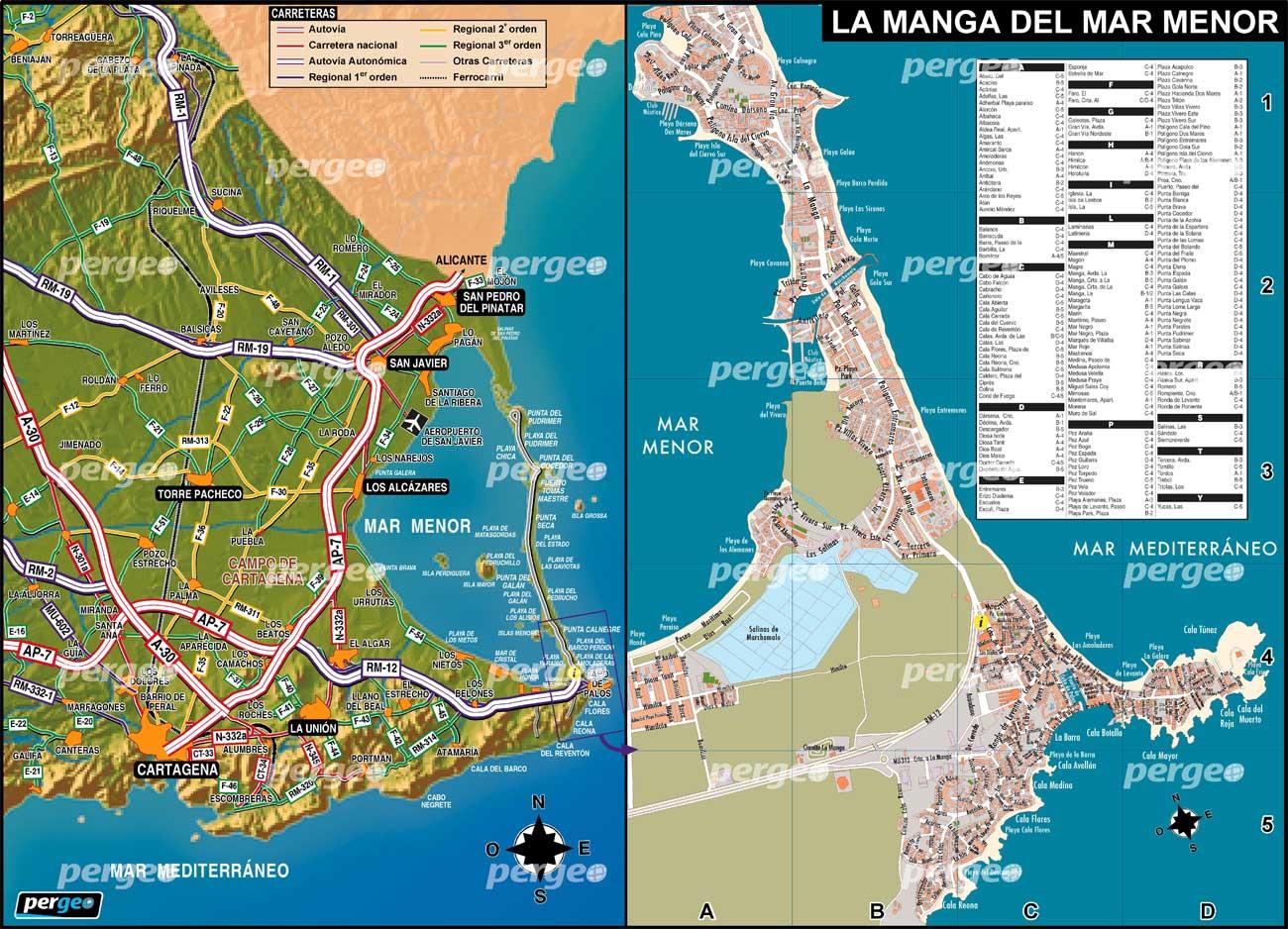 la manga mapa Mapa Región de Murciapergeo.es la manga mapa